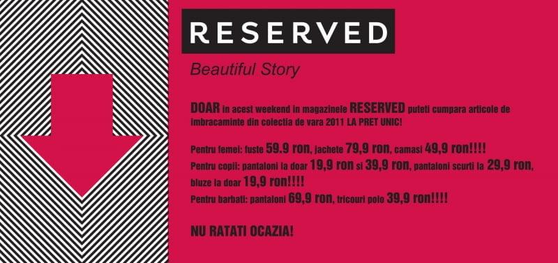 Reduceri la Reserved in Arena Mall Bacau