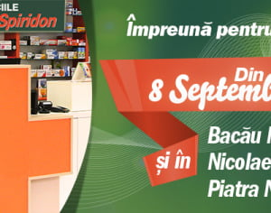 (P) Rețeaua de farmacii Sf. Spiridon se extinde  cu trei unități noi: doua in judetul Bacau si una in Piatra-Neamt
