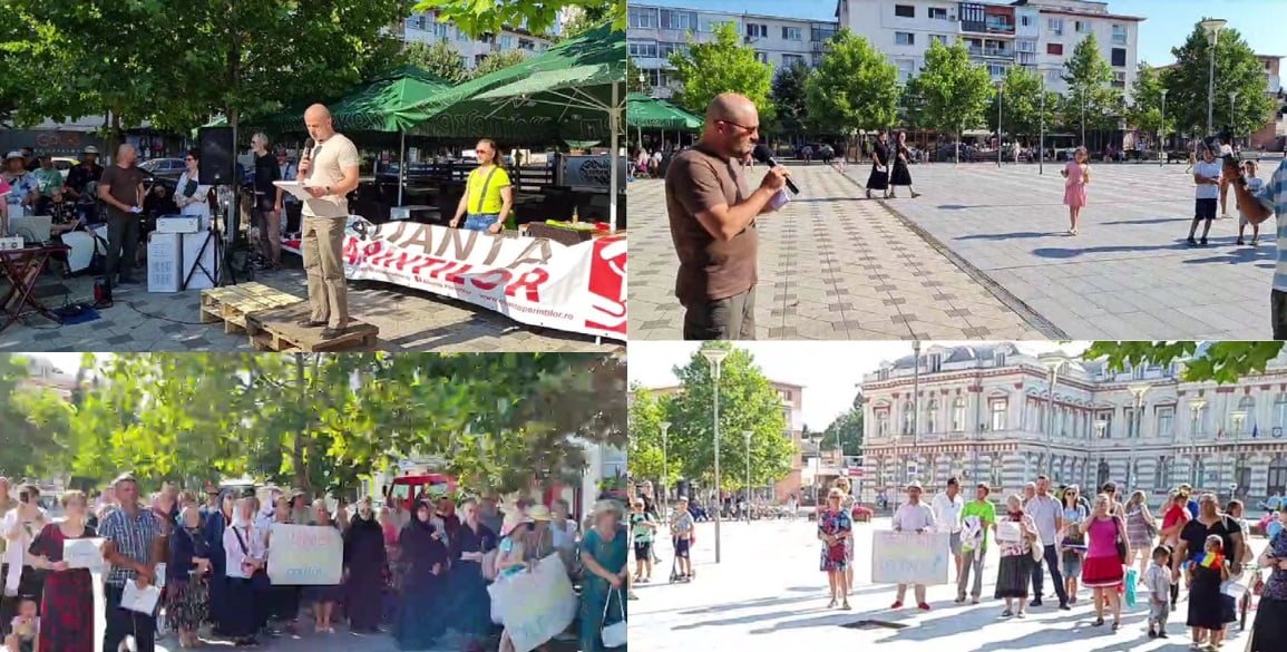 FOTO: Protest in centrul Bacaului impotriva vaccinarii obligatorii - Bacau .NET